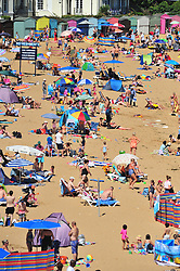 © Licensed to London News Pictures. 03/08/2018<br /> BROADSTAIRS, UK.<br /> Furnace Friday Part Two, As the heatwave is back in the UK, Hundreds of people flock to the beach in Broadstairs, Kent.<br /> Photo credit: Grant Falvey/LNP