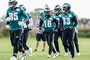 Philadelphia Eagles DeAndre Carter WR (16) and team mates warm up during the press, training and media day for Philadephia Eagles at London Irish Training Ground, Hazelwood Centre, United Kingdom on 26 October 2018. Picture by Jason Brown.