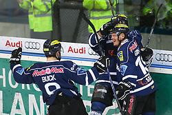 22.04.2015, Saturn Arena, Ingolstadt, GER, DEL, ERC Ingolstadt vs Adler Mannheim, Playoff, Finale, 6. Spiel, im Bild Christoph Gawlik (Nr, ERC Ingolstadt) jubelt nach seinem Treffer zu 1:0 mit Thomas Greilinger (Nr.39, ERC Ingolstadt) und Brandon Buck (Nr.9, ERC Ingolstadt) // during Germans DEL Icehockey League 6th final match between ERC Ingolstadt and Adler Mannheim at the Saturn Arena in Ingolstadt, Germany on 2015/04/22. EXPA Pictures © 2015, PhotoCredit: EXPA/ Eibner-Pressefoto/ Strisch<br /> <br /> *****ATTENTION - OUT of GER*****