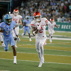 Sep 19, 2019; New Orleans, LA, USA; Houston Cougars wide receiver Keith Corbin (2) runs past Tulane Green Wave safety Macon Clark (37) for a touchdown during the first half at Yulman Stadium. Mandatory Credit: Derick E. Hingle-USA TODAY Sports