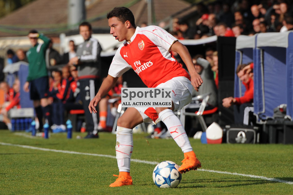 Arsenals Ismael Bennacer in action during the Arsenal u19 v Bayern Munich u19 match on Tuesday 20th October 2015 in the UEFA Youth League at Borehamwood