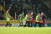 Forest Green Rovers goalkeeper Bradley Collins(1) is stretchered off after being injured during the EFL Sky Bet League 2 match between Yeovil Town and Forest Green Rovers at Huish Park, Yeovil, England on 24 April 2018. Picture by Shane Healey.