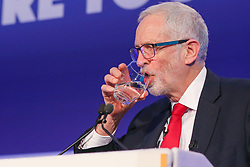 © Licensed to London News Pictures. 01/01/2019. London, UK. Jeremy Corbyn MP, Leader of Labour Party speaking at the 2019 National Manufacturing Conference in Queen Elizabeth II Centre. The conference addresses the difficulties and challenges the manufacturing sector will face post-Brexit. Photo credit: Dinendra Haria/LNP
