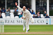 Jack Leach of Somerset bowling during the Specsavers County Champ Div 1 match between Somerset County Cricket Club and Middlesex County Cricket Club at the Cooper Associates County Ground, Taunton, United Kingdom on 27 September 2017. Photo by Graham Hunt.