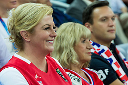 Kolinda Grabar-Kitarovic, president of Croatia and Biserka Petrovic during basketball match between Greece and Croatia at Day 2 in Group C of FIBA Europe Eurobasket 2015, on September 6, 2015, in Arena Zagreb, Croatia. Photo by Vid Ponikvar / Sportida