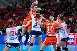 06-12-2019 JAP: Norway - Netherlands, Kumamoto<br /> Last match groep A at 24th IHF Women's Handball World Championship. / The Dutch handball players won in an exciting game of fear gegner Norway and wrote in the last group match at the World Handball  World Championship history (30-28). / Kelly Dulfer #18 of Netherlands
