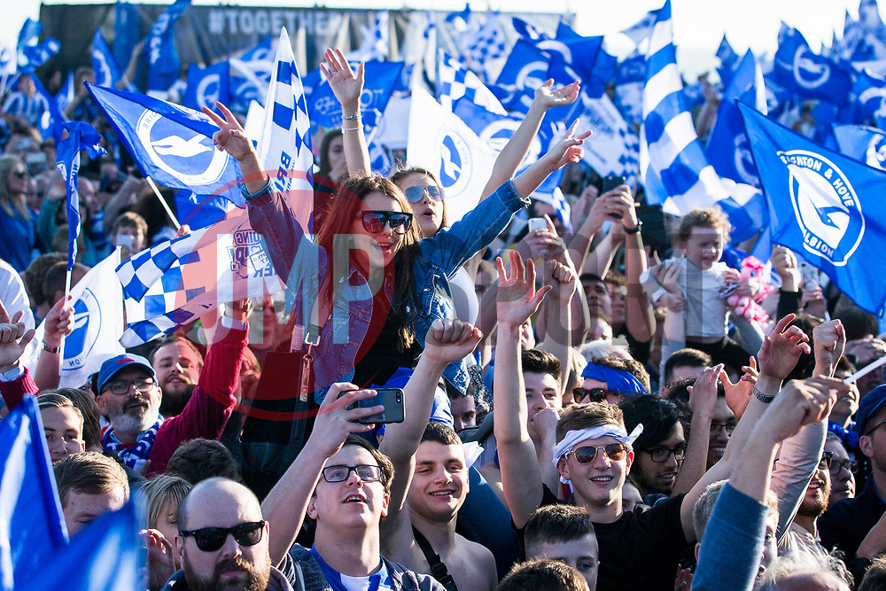 Brighton & Hove Albion fans celebrate at the Premier League Promotion Parade - Mandatory by-line: Jason Brown/JMP - 14/05/17 - FOOTBALL - Brighton and Hove Albion, Sky Bet Championship 2017 - Brighton and Hove Albion Promotion Parade