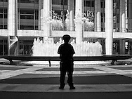 Guarding the fountain at Lincoln Center in New York City