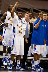November 30, 2009; San Jose, CA, USA;  San Jose State Spartans guard Robert Owens (23) celebrates on the bench after a three point basket during the second half against the Saint Mary's Gaels at the Event Center Arena.  Saint Mary's defeated San Jose State 78-71.