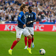 PARIS, FRANCE - September 10: Antoine Griezmann #7 of France on the ball and Moussa Sissoko #17 of France during the France V Andorra, UEFA European Championship 2020 Qualifying match at Stade de France on September 10th 2019 in Paris, France (Photo by Tim Clayton/Corbis via Getty Images)