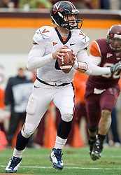 Virginia quarterback Marc Verica (6) in action against VT.  The Virginia Tech Hokies defeated the Virginia Cavaliers 17-14 in NCAA football at Lane Stadium on the campus of Virginia Tech in Blacksburg, VA on November 29, 2008.