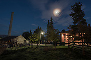 Outside The Haunted Mansion during night with moon.  Albion, Idaho.