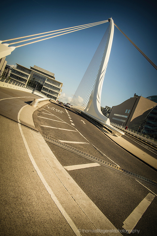 The Famous James Joyce bridge on the River Liffey, In Dublin City's Modern Docklands Quarter.