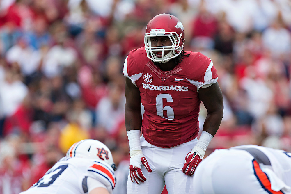 FAYETTEVILLE, AR - OCTOBER 24:  JaMichael Winston #6 of the Arkansas Razorbacks looks over the offense during a game against the Auburn Tigers at Razorback Stadium on October 24, 2015 in Fayetteville, Arkansas.  The Razorbacks defeated the Tigers in 4 OT's 54-46.  (Photo by Wesley Hitt/Getty Images) *** Local Caption *** JaMichael Winston