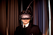 "Franz Kafka lookalike Marek Lentvorsky (21) experiences for the first time the installation ""VRwandlung"" in which he virtually transforms into an insect, Goethe Institut Prag."