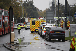 © Licensed to London News Pictures. 09/11/2016. London, UK. The scene where a tram has derailed at Sandlilands tram station in Croydon, Greater London. Dozens of people are believed to be injured with some trapped. Photo credit: Peter Macdiarmid/LNP