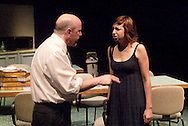 K. L. Storer as Ray (left) and Heather Atkinson as Una during a dress rehearsal of Blackbird at the Dayton Theatre Guild, Thursday, April 21, 2011.