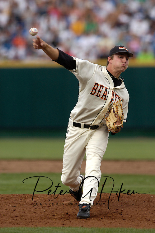 Oregon State starting pitcher Dallas Buck against Miami, during the College World Series at Rosenblatt Stadium in Omaha, Nebraska, June 17, 2006.