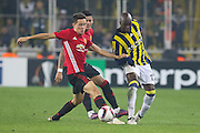 Ander Herrera Midfielder of Manchester United battles with Fenerbahce Forward Moussa Sow during the Europa League match between Fenerbahce and Manchester United at the Ulker Stadium, Kadikoy, Turkey on 3 November 2016. Photo by Phil Duncan.
