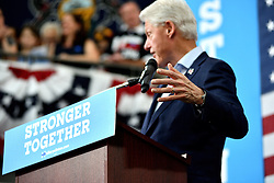 Former President Bill Clinton speaks to young voters in the Philadelphia, Pennsylvania suburbs during a Stronger Together campaign rally in support of his wife Hillary Clinton, the Democratic presidential nominee in the race for the 2016 U.S. Presidential Elections.