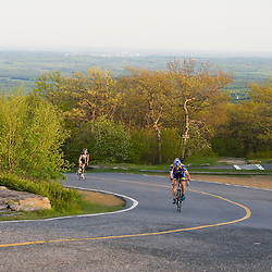 Biking the auto road on Mount Wachusett in Massachusetts.