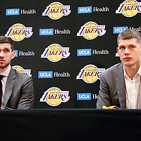 EL SEGUNDO, CA - JUN 26: NBA 2018 draft pick Moritz Wagner #15 of the Los Angeles Lakers and NBA draft pick Sviatoslav Mykhailiuk #19 of the Los Angeles Lakers answer questions during an introductory press conference at the UCLA Health Training Center on June 26, 2018 in El Segundo, California.