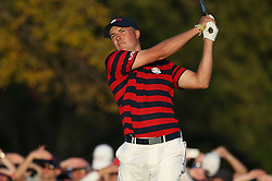 October 1, 2016: USA's Jordan Spieth tees off on the seventeenth hole in the afternoon fourball match of the 2016 Ryder Cup at Hazeltine National Golf Club in Chaska, Minnesota. Von Castor/Cal Sport Media(Credit Image: © Von Castor/Cal Sport Media via ZUMA Wire)