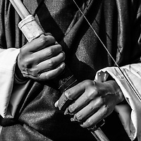 An archer holds his bow in Bhutan. Archery being the national pastime and sport.