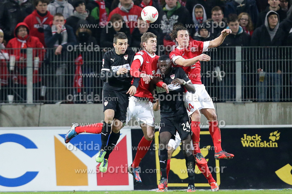 15.12.2012, Coface Arena, Mainz, GER, 1. FBL, 1. FSV Mainz 05 vs VfB Stuttgart, 17. Runde, im Bild Julian BAUMGARTLINGER (FSV Mainz 05 - 14) - Antonio RUEDIGER (VfB Stuttgart - 24) - Vedad IBISEVIC (VfB Stuttgart - 9) // during the German Bundesliga 17th round match between 1. FSV Mainz 05 and VfB Stuttgart at the Coface Arena, Mainz, Germany on 2012/12/15. EXPA Pictures © 2012, PhotoCredit: EXPA/ Eibner/ Gerry Schmit..***** ATTENTION - OUT OF GER *****