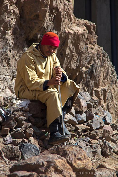 Africa, Morocco, Imlil. Berber villager of Imlil, Atlas Mountains.