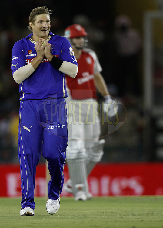 Shane Watson of Rajasthan Royals  celebrates the wicket of Kings XI Punjab Shaun Marsh during match 23 of the Indian Premier League ( IPL ) Season 4 between the Kings XI Punjab and the Rajasthan Royal held at the PCA stadium in Mohali, Chandigarh, India on the 21st April 2011..Photo by Pankaj Nangia/BCCI/SPORTZPICS