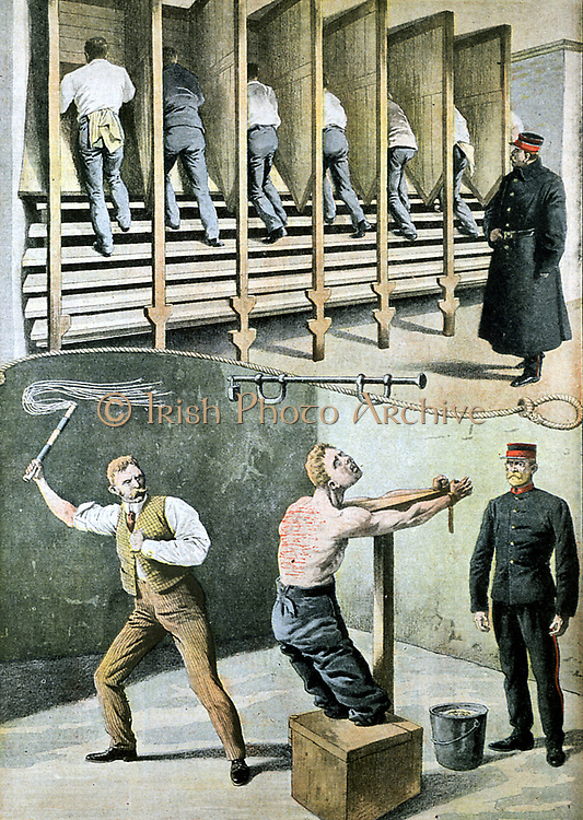 English prison life: treadmill for hard labour, and punishment with the cat-o-nine-tails. France was suffering from the Apaches at this time, and some thought the prisons should be made less comfortable and more like British ones. From 'Le Petit Journal', Paris, November 1907.