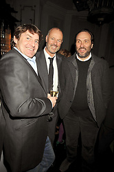 Left to right, CHARLIE BROOKS, SIMON OATES and the HON.DAVID MACMILLAN at a party to celebrate the publication of 'In Bed With' held at the Artesian Bar,The Langham Hotel, 1c Portland Placeon 11th February 2009.