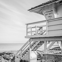 Maui Kamaole Beach lifeguard tower black and white photo in Kihei Hawaii in the Hawaiian Islands. Copyright ⓒ 2019 Paul Velgos with All Rights Reserved.