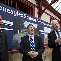 Transport Minister Unveils Funding for Gleneagles Station....15.11.13<br /> Keith Brown MSP Transport Minister for Scotland pictured at Gleneagles railway station this morning to announce funding to improve Gleneagles station and services ahead of the 2014 Ryder Cup. He is pictured with Jim Valentine (left) Executive Director for Environment Services at perth & Kinross Council and Steve Montgomery Scotrail MD.<br /> Picture by Graeme Hart.<br /> Copyright Perthshire Picture Agency<br /> Tel: 01738 623350  Mobile: 07990 594431
