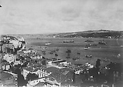 panoramic overview of Istanbul and river early 1900s
