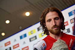 WREXHAM, WALES - Wednesday, June 5, 2019: Wales' Joe Allen speaks to the media at Glyndwr University ahead of the UEFA Euro 2020 Qualifying Group E match between Croatia and Wales. (Pic by David Rawcliffe/Propaganda)
