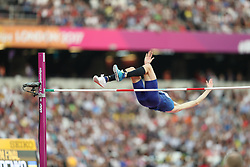 London, August 13 2017 . Bohdan Bondarenko, Ukraine, in the men's high jump final on day ten of the IAAF London 2017 world Championships at the London Stadium. © Paul Davey.