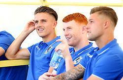 Tom Nichols of Bristol Rovers sits with Rory Gaffney and James Clarke of Bristol Rovers on arrival at Estadio da Nora for the preseason friendly with Hull City - Mandatory by-line: Robbie Stephenson/JMP - 18/07/2017 - FOOTBALL - Estadio da Nora - Albufeira,  - Hull City v Bristol Rovers - Pre-season friendly