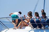 Felipe Juan Froilan de Marichalar, Mar Torres (Froilan's girlfriend), Victoria Federica de Marichalar during the 36th Copa del Rey Mapfre Sailing Cup, day 6 on August 5, 2017 in Palma de Mallorca, Spain.
