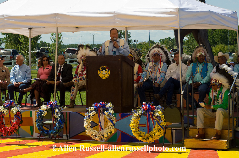 Brian Schweitzer, Montana Governor and John Bohlinger, Lieutenant Governor and Crow Dignitaries at Native Days ceremony for war veterans on Crow Indian Reservation, Montana.
