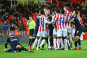 Tempers flare during the EFL Sky Bet Championship match between Stoke City and Derby County at the Bet365 Stadium, Stoke-on-Trent, England on 28 November 2018.