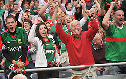 Joy &amp; relief for Mayo fans when Andy Moran scored the equaliser, during the All Ireland semi-final.<br /> Pic Conor McKeown