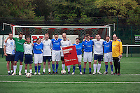 Yes Scotland: Paul Brannigan, Garry Sweeney, Gary Cocker, Stuart McDonald, Blair Jenkins and Goalkeeper Dominic Hinde. Better Together Douglas Alexander MP, Ruth Davidson MSP, Ken Macintosh MSP, Aislin Robbie, Ben Carroll and Goal keeper John Park. Vote Yes and Not dispute penalty football.<br /> Pako Mera/Universal News And Sport (Europe) 03/09/2014