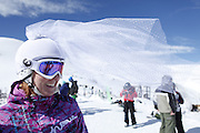 SHOT 2/14/11 12:41:38 PM - Loveland Ski Area in Colorado hosted the 20th Annual Marry Me & Ski Free Mountaintop Matrimony on Valentine's Day Monday, February 14th. The mass wedding ceremony was held at noon at 12,050 feet outside of the Ptarmigan Roost Cabin at Loveland. More than 75 couples were pre-registered to get married or renew their vows high on The Continental Divide in this yearly Loveland tradition.  Following the ceremony couples were invited to a casual reception complete with a champagne toast, wedding cake and music.  (Photo by Marc Piscotty / © 2010)