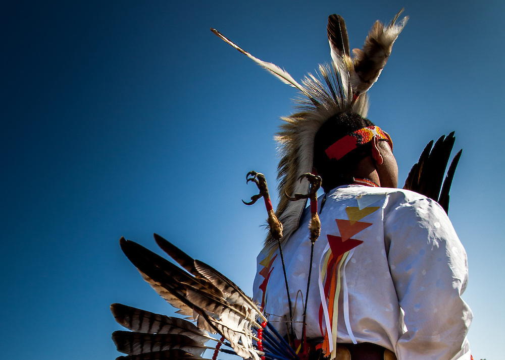 This series of photographs feature descendants of Native Americans in traditional dress.