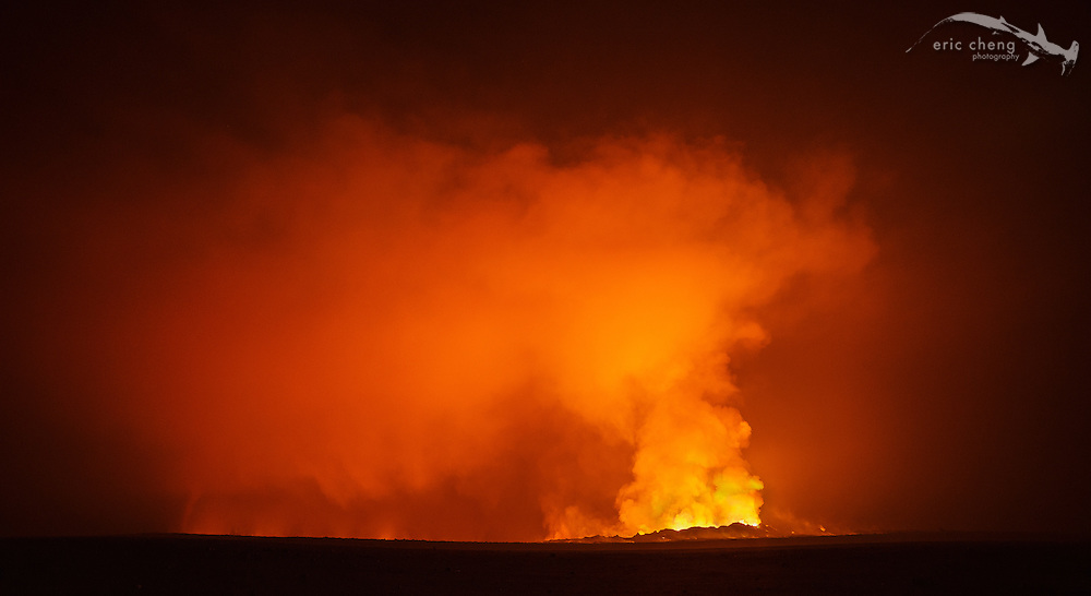 Holuhraun volcano eruption and steam rising from the lava flow. Bardarbunga volcanic system, Iceland.