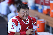 ANAHEIM, CA - AUGUST 21:  Hank Conger #16 of the Los Angeles Angels of Anaheim has a laugh in the dugout during the game against the Cleveland Indians on Wednesday, August 21, 2013 at Angel Stadium in Anaheim, California. The Indians won the game 3-1. (Photo by Paul Spinelli/MLB Photos via Getty Images) *** Local Caption *** Hank Conger