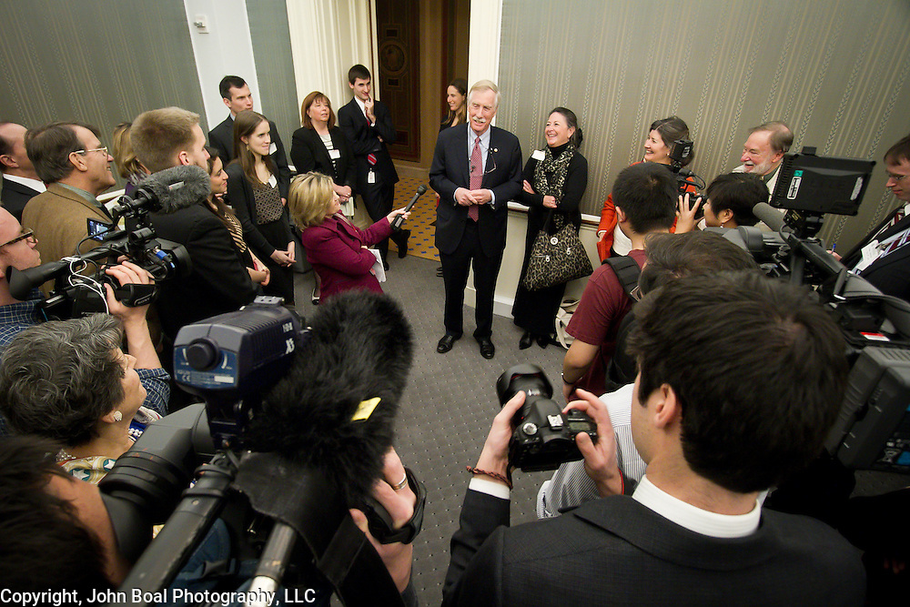 Senator Angus King (I-ME) greets his supporters and family, during a reception celebrating his official swearing in ceremony at the United States Capitol, on Thursday, January 3, 2013.  For The Portland (Maine) Press-Herald.