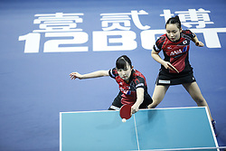February 23, 2018 - London, England, United Kingdom - Hina HAYATA and Mima ITO of Japan during ITTF Team World Cup match between Hina HAYATA and Mima ITO of Japan and Herng Hwee YEE and Mengyu YU of Singapore, Quarter Finals Women doubles match on February 23, 2018 in Copper Box Arena, Olympic Park, London. (Credit Image: © Dominika Zarzycka/NurPhoto via ZUMA Press)